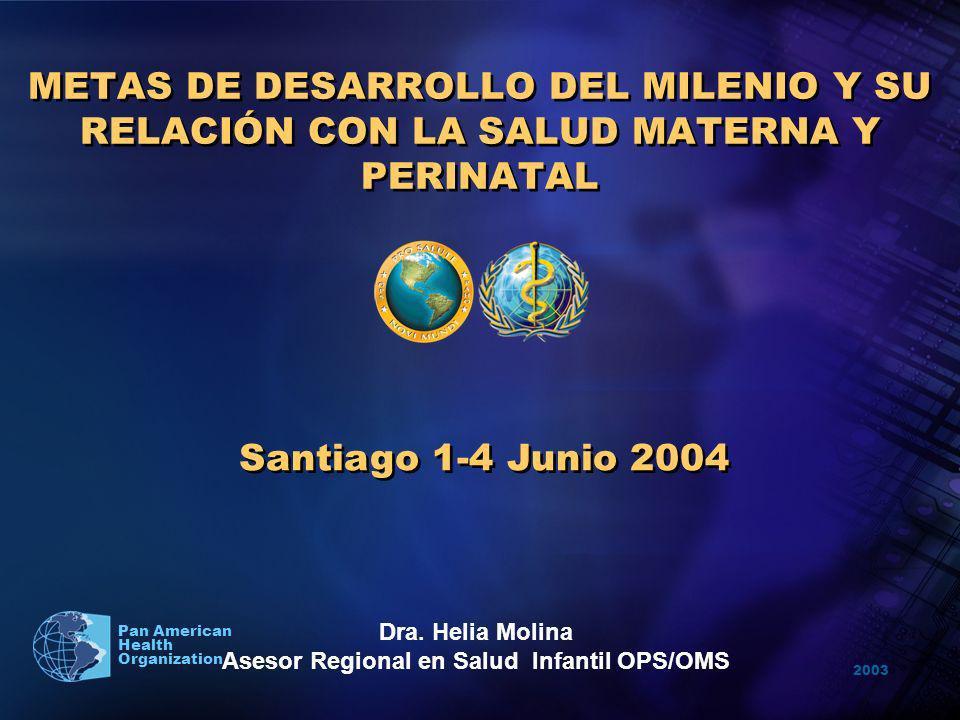 2003 Pan American Health Organization METAS DE DESARROLLO DEL MILENIO Y SU RELACIÓN CON LA SALUD MATERNA Y PERINATAL Santiago 1-4 Junio 2004 Dra. Heli