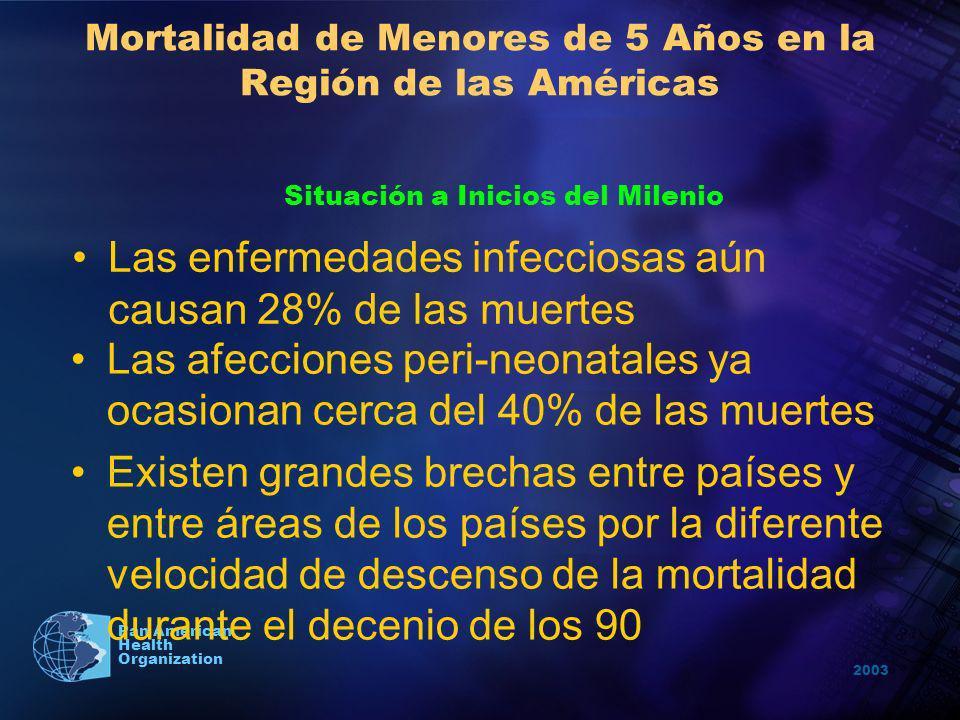 2003 Pan American Health Organization Mortalidad de Menores de 5 Años en la Región de las Américas Las afecciones peri-neonatales ya ocasionan cerca d