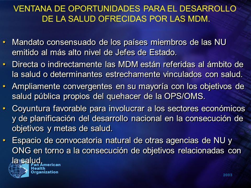 2003 Pan American Health Organization Mandato consensuado de los países miembros de las NU emitido al más alto nivel de Jefes de Estado. Directa o ind