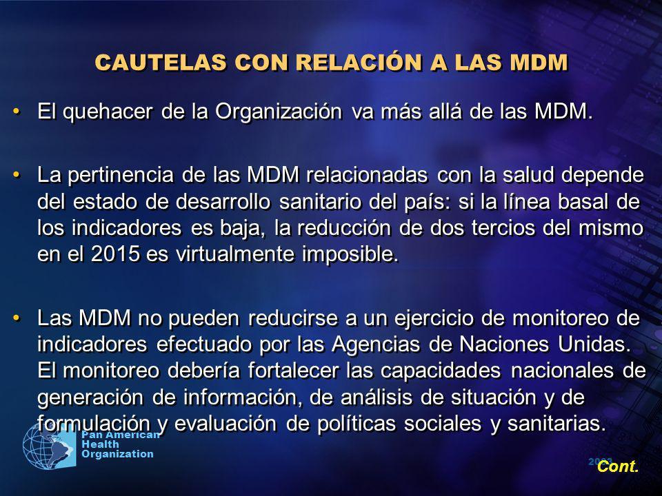 2003 Pan American Health Organization CAUTELAS CON RELACIÓN A LAS MDM El quehacer de la Organización va más allá de las MDM. La pertinencia de las MDM