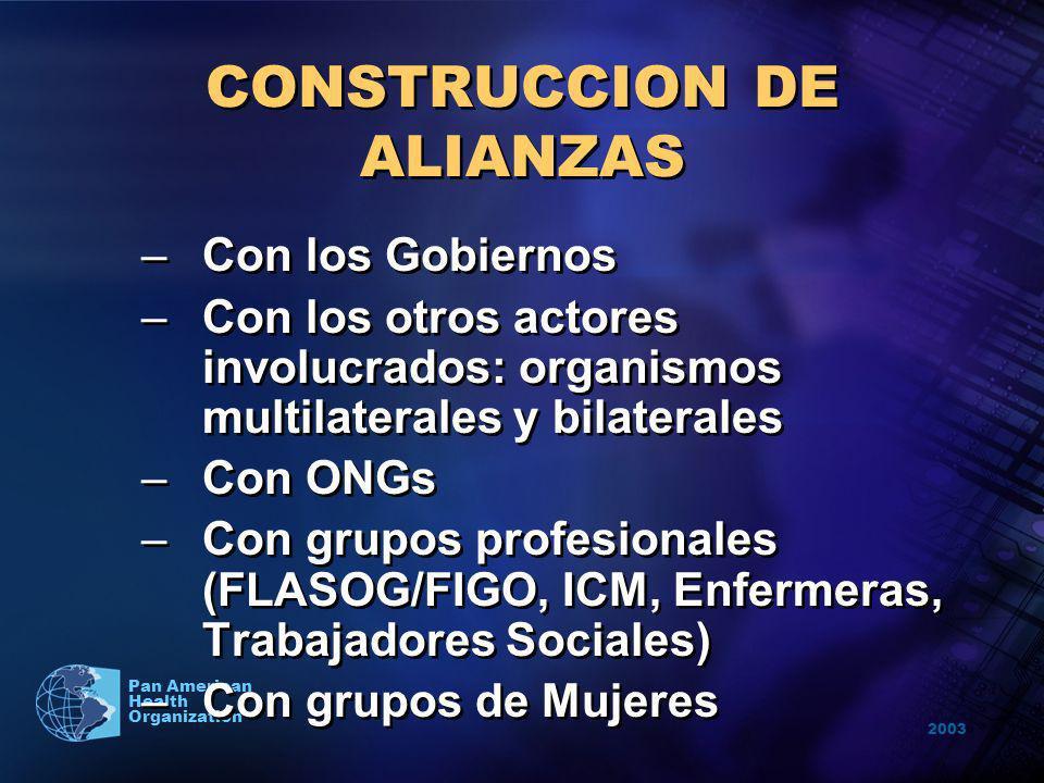2003 Pan American Health Organization CONSTRUCCION DE ALIANZAS –Con los Gobiernos –Con los otros actores involucrados: organismos multilaterales y bil