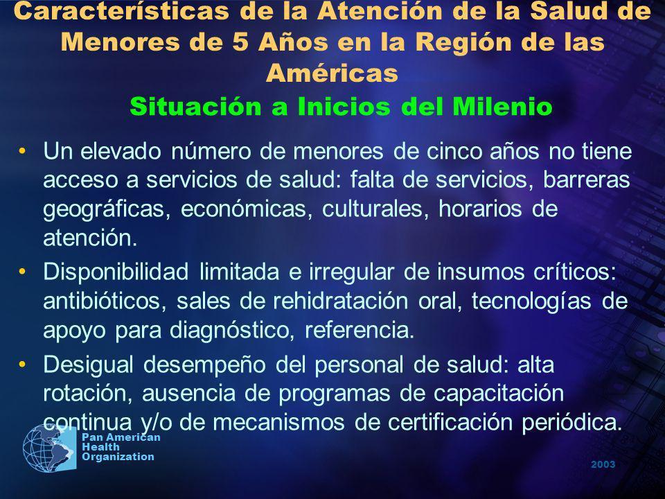 2003 Pan American Health Organization Características de la Atención de la Salud de Menores de 5 Años en la Región de las Américas Situación a Inicios