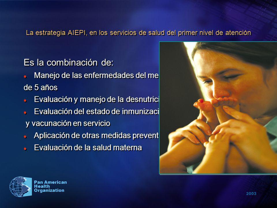 2003 Pan American Health Organization La estrategia AIEPI, en los servicios de salud del primer nivel de atención Es la combinación de: Manejo de las