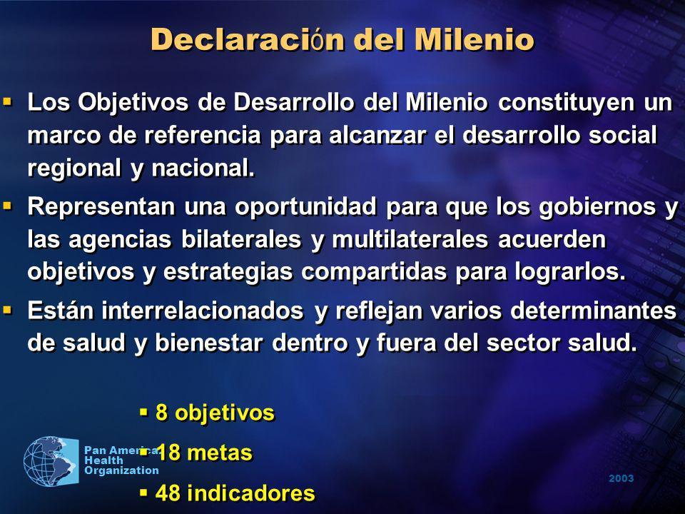 2003 Pan American Health Organization Declaraci ó n del Milenio Los Objetivos de Desarrollo del Milenio constituyen un marco de referencia para alcanz