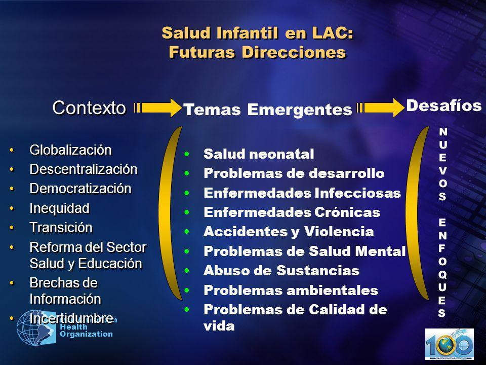 2003 Pan American Health Organization Desafíos para mejorar la salud de la niñez en los países de América Perfil epidemiológico de transición: –Las enfermedades infecciosas continúan siendo una causa frecuente de mortalidad y morbilidad.