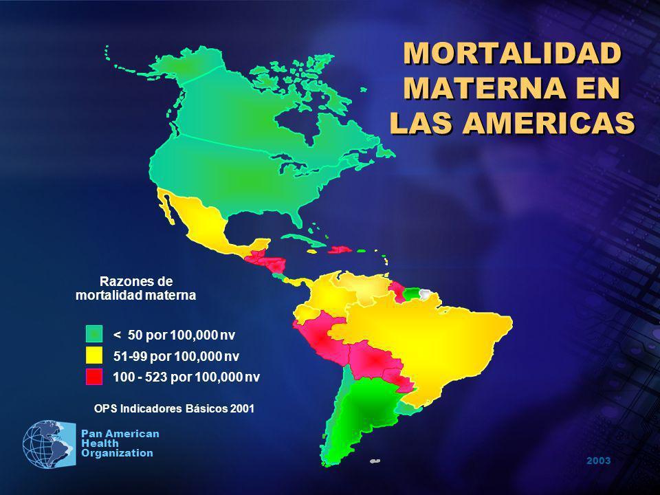 2003 Pan American Health Organization MORTALIDAD MATERNA EN LAS AMERICAS Razones de mortalidad materna < 50 por 100,000 nv 51-99 por 100,000 nv 100 -