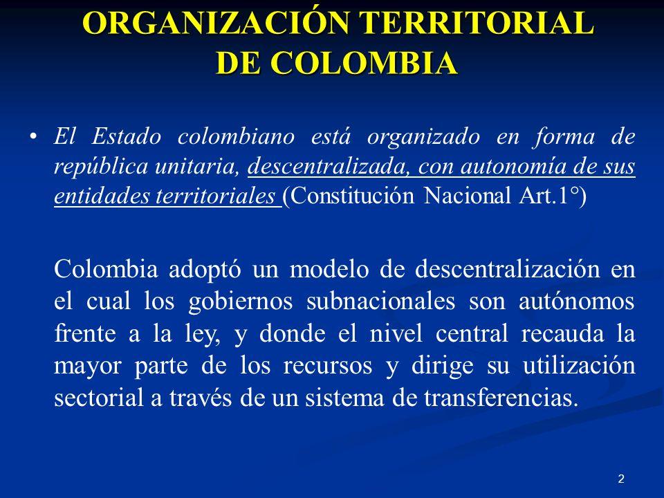 2 ORGANIZACIÓN TERRITORIAL DE COLOMBIA El Estado colombiano está organizado en forma de república unitaria, descentralizada, con autonomía de sus enti