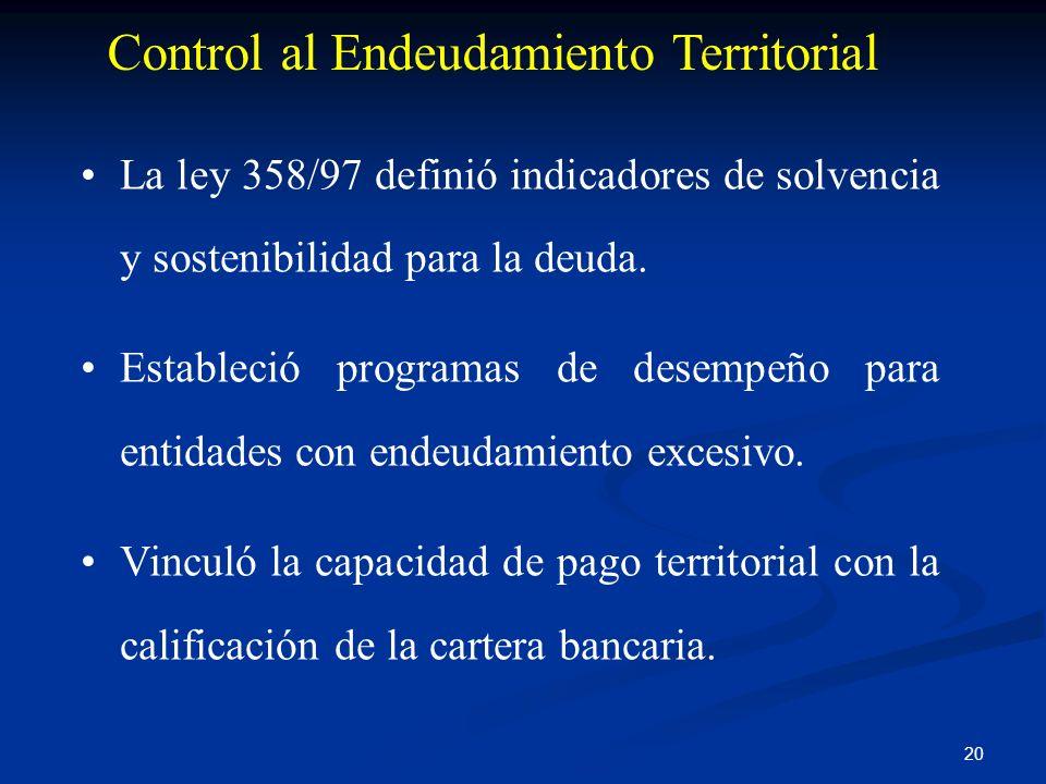 20 Control al Endeudamiento Territorial La ley 358/97 definió indicadores de solvencia y sostenibilidad para la deuda. Estableció programas de desempe