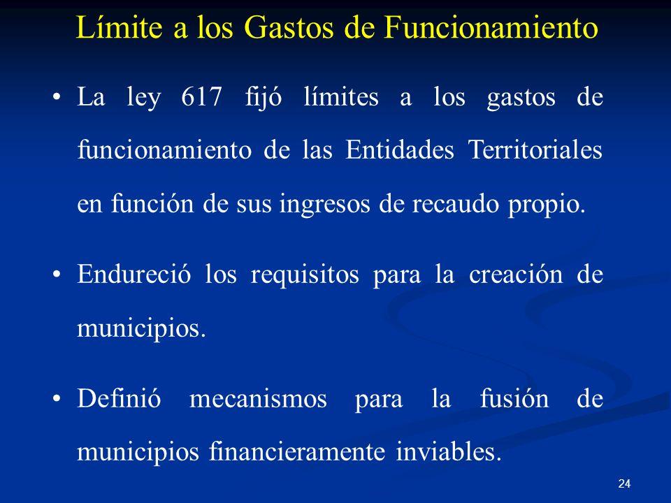 24 Límite a los Gastos de Funcionamiento La ley 617 fijó límites a los gastos de funcionamiento de las Entidades Territoriales en función de sus ingre