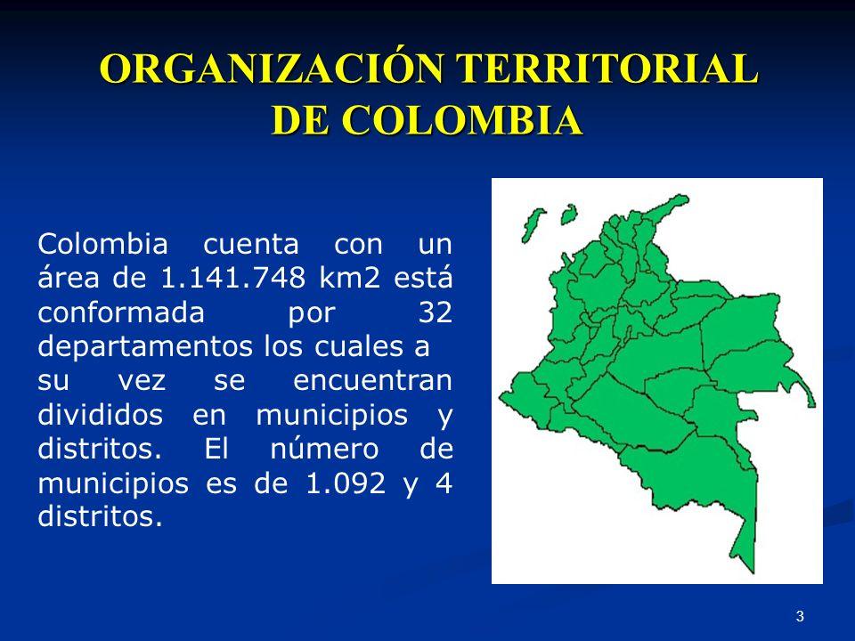 3 ORGANIZACIÓN TERRITORIAL DE COLOMBIA Colombia cuenta con un área de 1.141.748 km2 está conformada por 32 departamentos los cuales a su vez se encuen