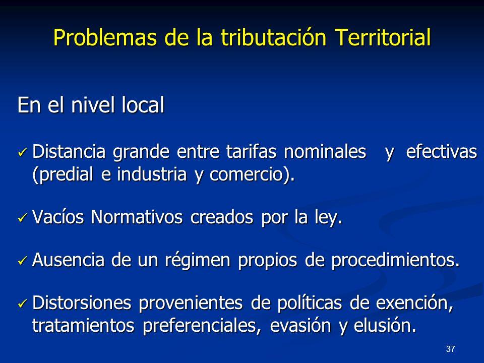 37 Problemas de la tributación Territorial En el nivel local Distancia grande entre tarifas nominales y efectivas (predial e industria y comercio). Di