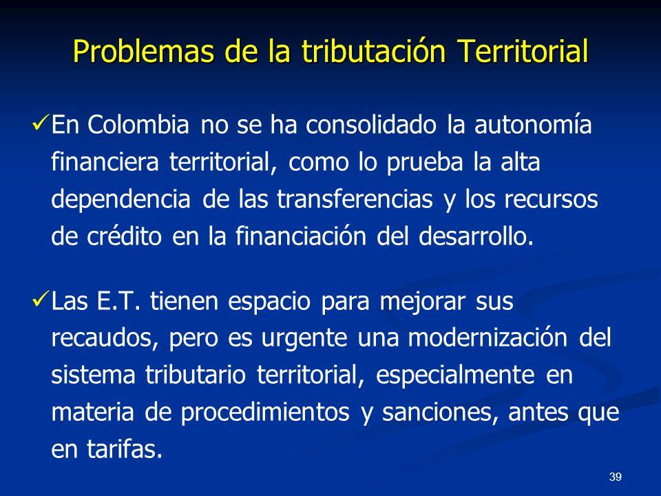 39 En Colombia no se ha consolidado la autonomía financiera territorial, como lo prueba la alta dependencia de las transferencias y los recursos de cr