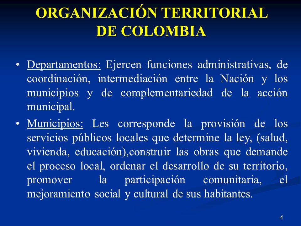 4 ORGANIZACIÓN TERRITORIAL DE COLOMBIA Departamentos: Ejercen funciones administrativas, de coordinación, intermediación entre la Nación y los municip