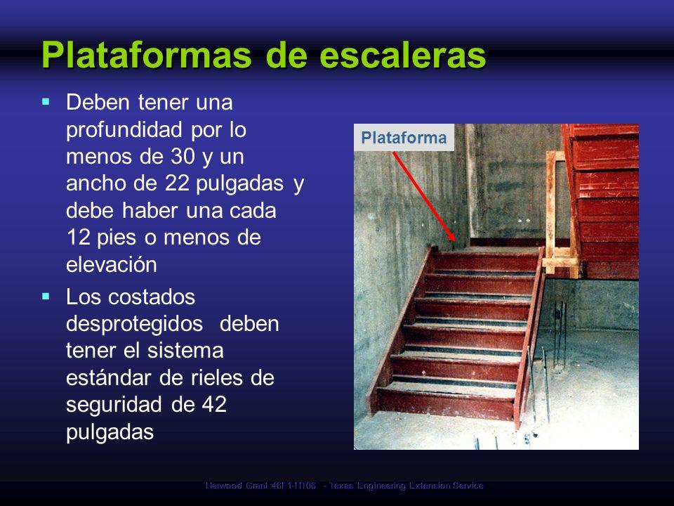 Harwood Grant 46F1-HT06 - Texas Engineering Extension Service Plataforma Plataformas de escaleras Deben tener una profundidad por lo menos de 30 y un