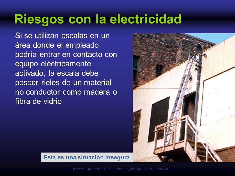 Harwood Grant 46F1-HT06 - Texas Engineering Extension Service Esta es una situación insegura Riesgos con la electricidad Si se utilizan escalas en un