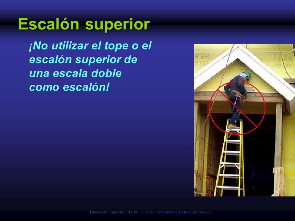 Harwood Grant 46F1-HT06 - Texas Engineering Extension Service Escalón superior ¡No utilizar el tope o el escalón superior de una escala doble como esc