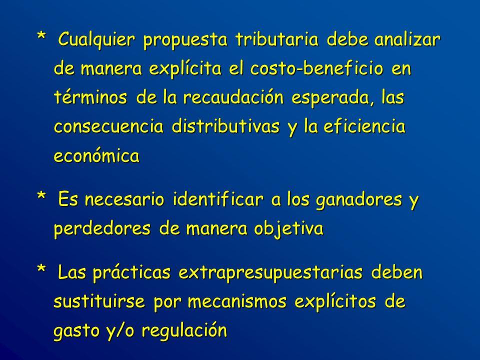 * Cualquier propuesta tributaria debe analizar de manera explícita el costo-beneficio en términos de la recaudación esperada, las consecuencia distrib