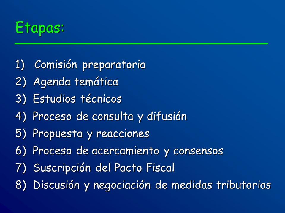 Etapas: 1) Comisión preparatoria 2) Agenda temática 3) Estudios técnicos 4) Proceso de consulta y difusión 5) Propuesta y reacciones 6) Proceso de ace