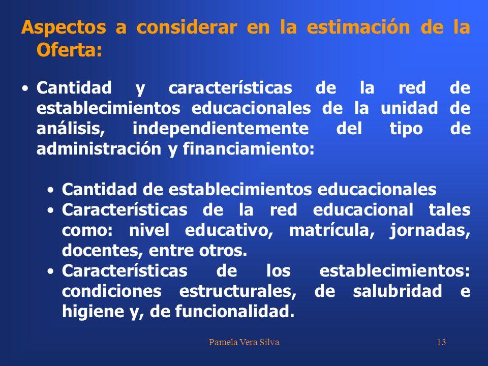 Pamela Vera Silva13 Aspectos a considerar en la estimación de la Oferta: Cantidad y características de la red de establecimientos educacionales de la