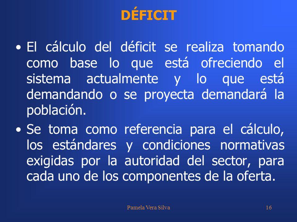 Pamela Vera Silva16 El cálculo del déficit se realiza tomando como base lo que está ofreciendo el sistema actualmente y lo que está demandando o se pr