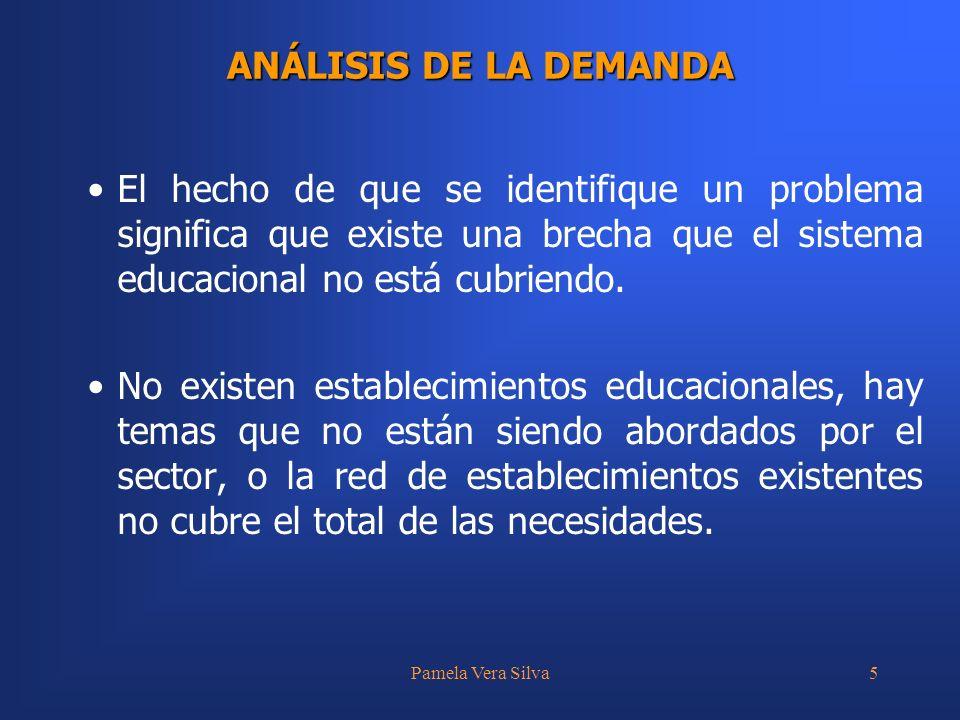 Pamela Vera Silva5 ANÁLISIS DE LA DEMANDA El hecho de que se identifique un problema significa que existe una brecha que el sistema educacional no está cubriendo.
