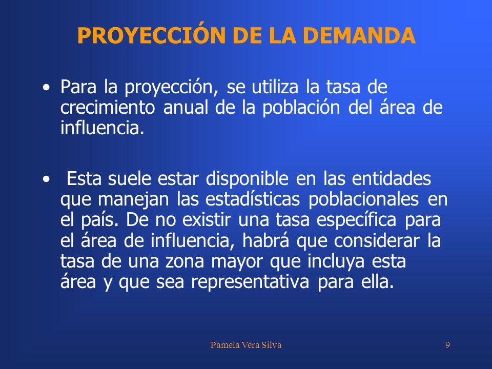 Pamela Vera Silva9 Para la proyección, se utiliza la tasa de crecimiento anual de la población del área de influencia. Esta suele estar disponible en