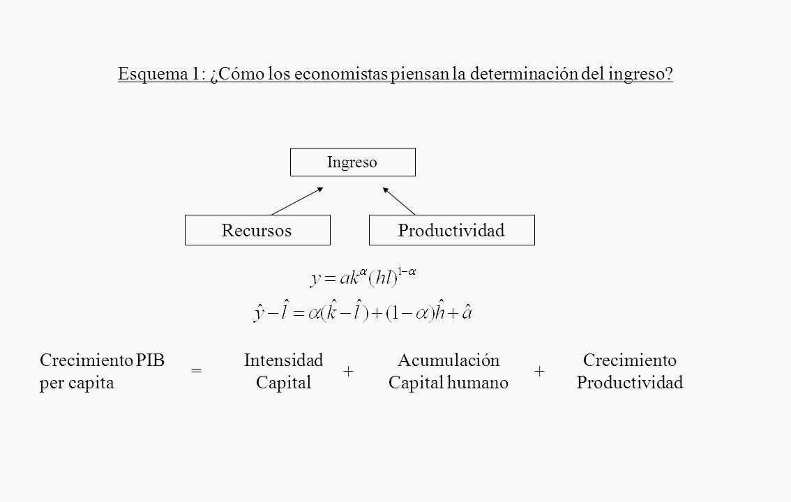 FUENTES DEL CRECIMIENTO DE LARGO PLAZO Determinantes del crecimiento (93 países, Barro, 1991,1997) –PIB inicial –Inversión, total y pública –Estabilid