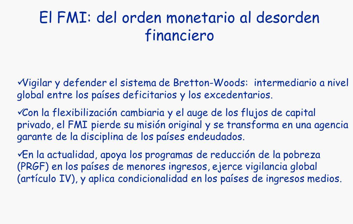 El FMI: del orden monetario al desorden financiero Vigilar y defender el sistema de Bretton-Woods: intermediario a nivel global entre los países deficitarios y los excedentarios.