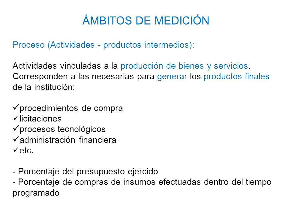 Proceso (Actividades - productos intermedios): Actividades vinculadas a la producción de bienes y servicios. Corresponden a las necesarias para genera