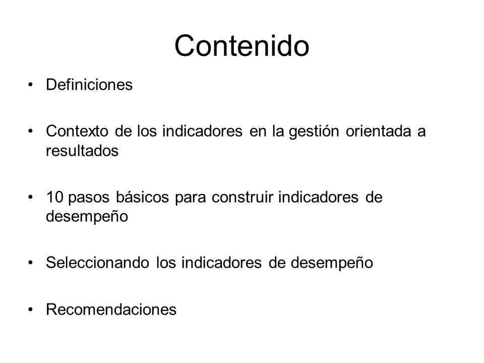 Contenido Definiciones Contexto de los indicadores en la gestión orientada a resultados 10 pasos básicos para construir indicadores de desempeño Selec