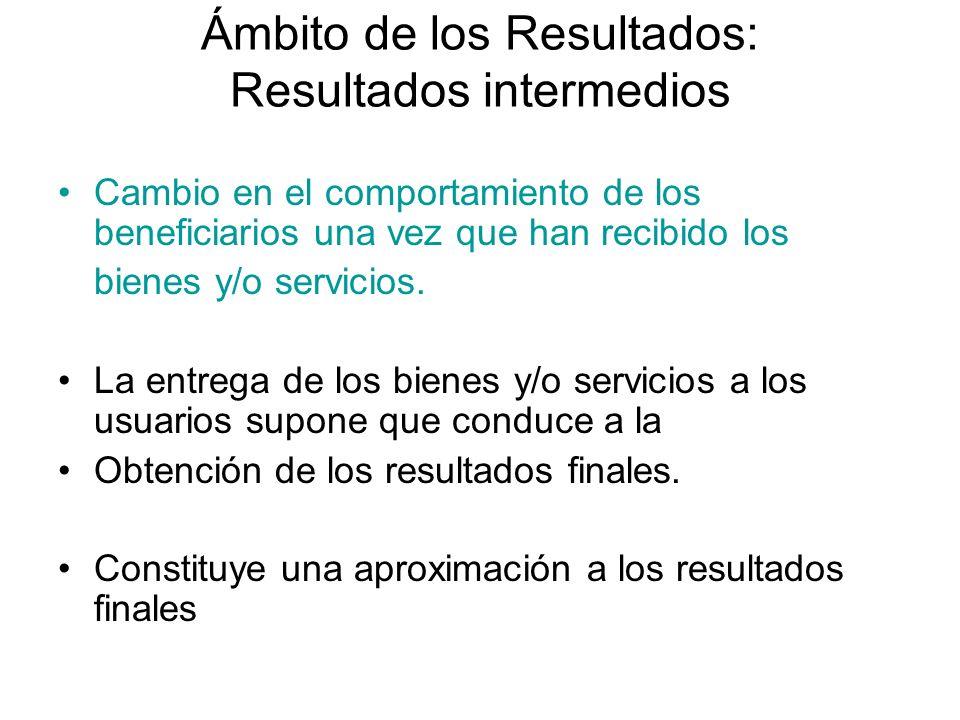 Ámbito de los Resultados: Resultados intermedios Cambio en el comportamiento de los beneficiarios una vez que han recibido los bienes y/o servicios. L
