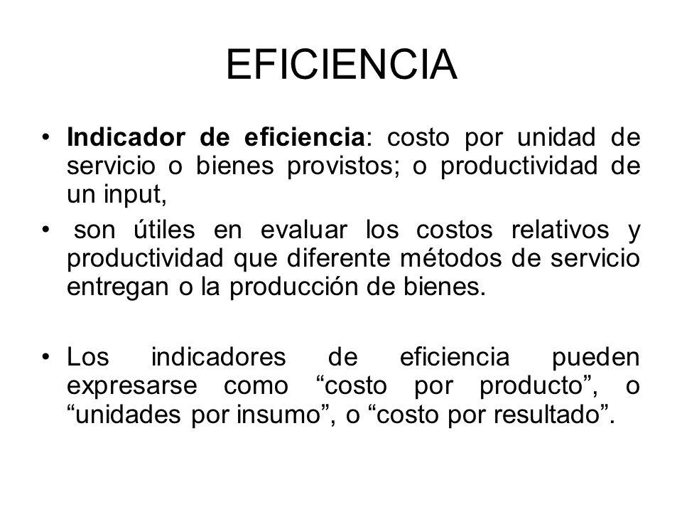 EFICIENCIA Indicador de eficiencia: costo por unidad de servicio o bienes provistos; o productividad de un input, son útiles en evaluar los costos rel