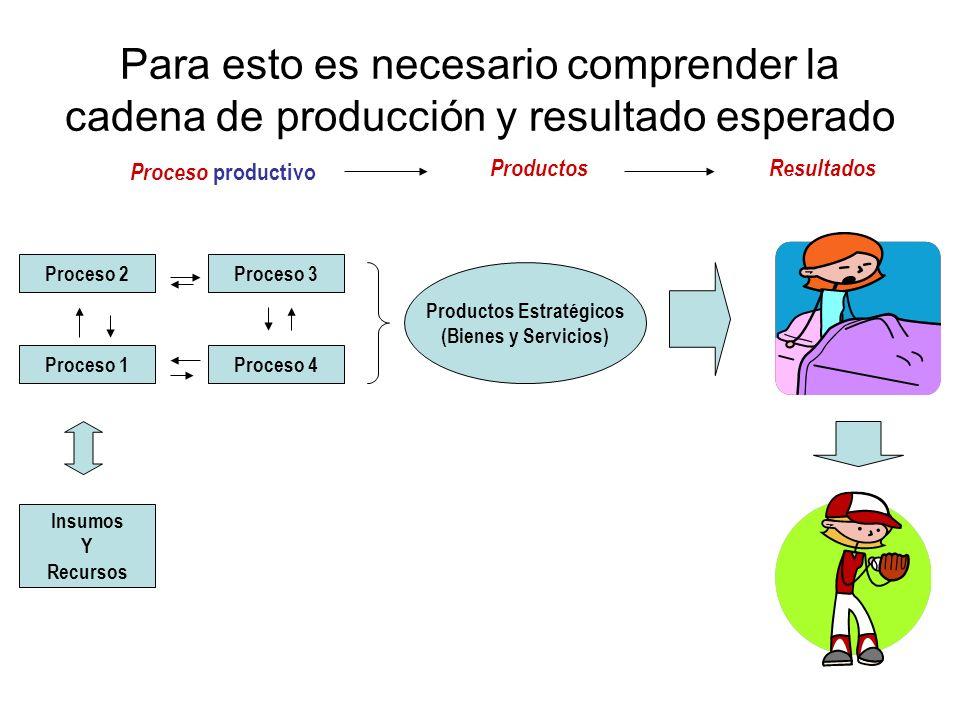Proceso 2Proceso 3 Proceso 1Proceso 4 Insumos Y Recursos Productos Estratégicos (Bienes y Servicios) Proceso productivo ProductosResultados Para esto