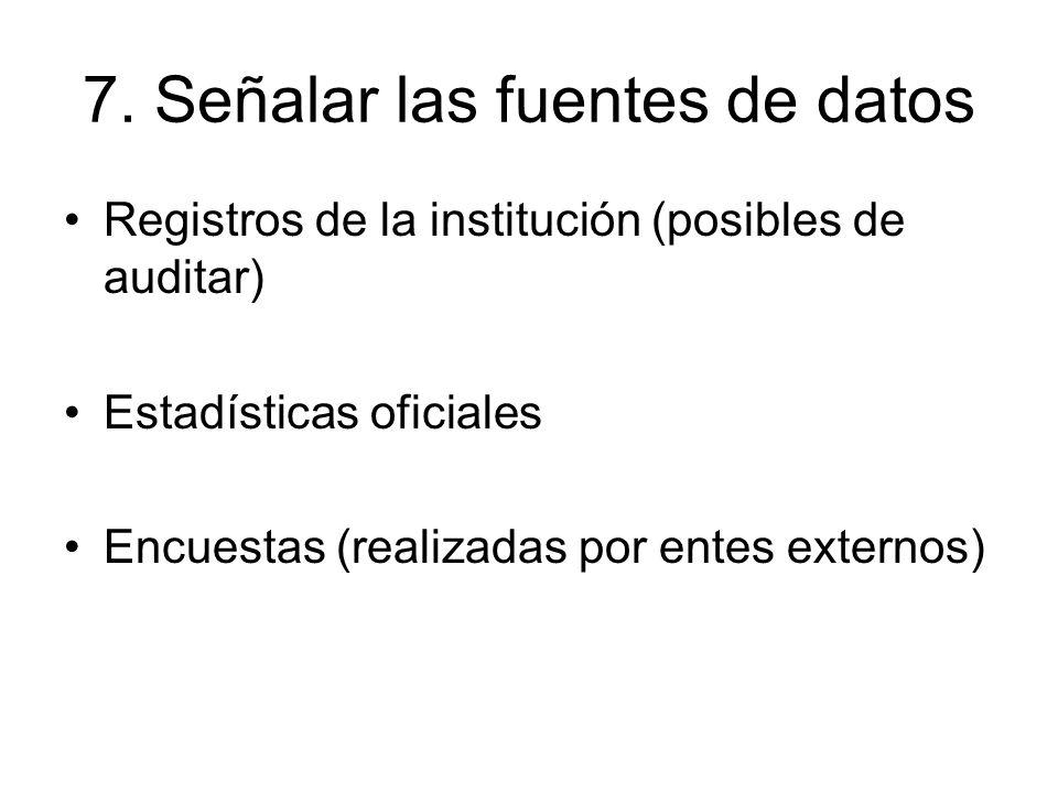 7. Señalar las fuentes de datos Registros de la institución (posibles de auditar) Estadísticas oficiales Encuestas (realizadas por entes externos)
