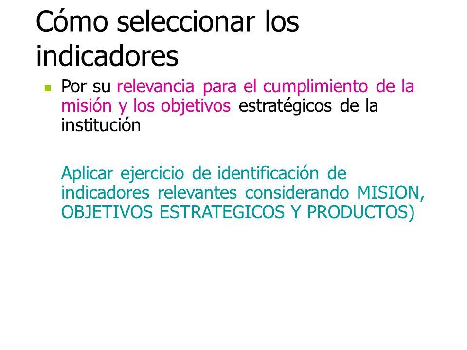 Cómo seleccionar los indicadores Por su relevancia para el cumplimiento de la misión y los objetivos estratégicos de la institución Aplicar ejercicio