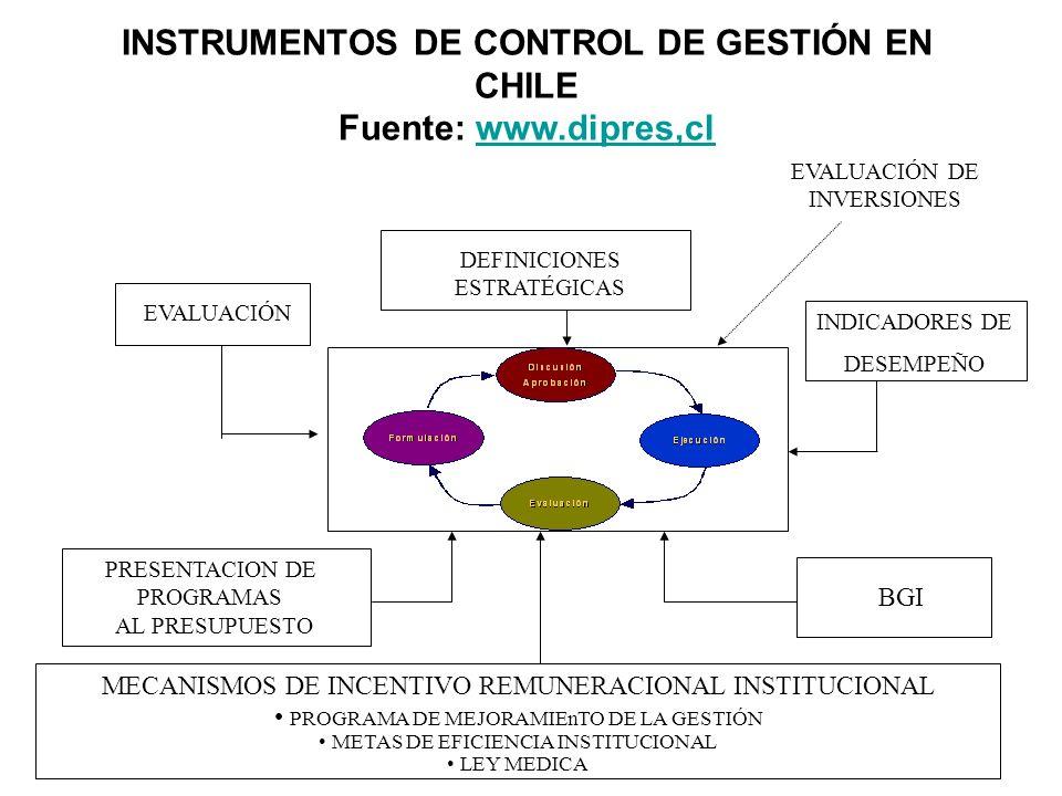 INSTRUMENTOS DE CONTROL DE GESTIÓN EN CHILE Fuente: www.dipres,clwww.dipres,cl EVALUACIÓN INDICADORES DE DESEMPEÑO PRESENTACION DE PROGRAMAS AL PRESUP