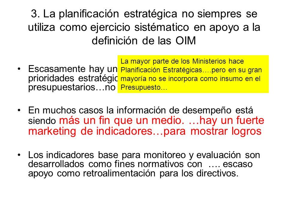 3. La planificación estratégica no siempres se utiliza como ejercicio sistématico en apoyo a la definición de las OIM Escasamente hay una articulación