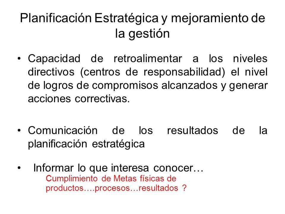 Planificación Estratégica y mejoramiento de la gestión Capacidad de retroalimentar a los niveles directivos (centros de responsabilidad) el nivel de l
