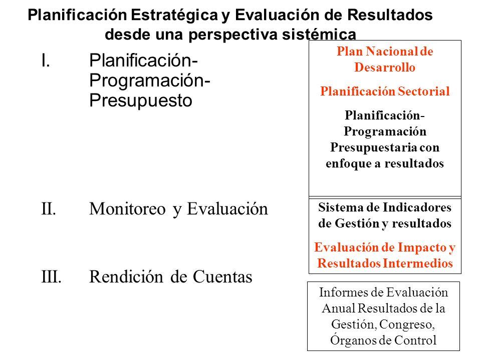 Planificación Estratégica y Evaluación de Resultados desde una perspectiva sistémica I.Planificación- Programación- Presupuesto II.Monitoreo y Evaluac