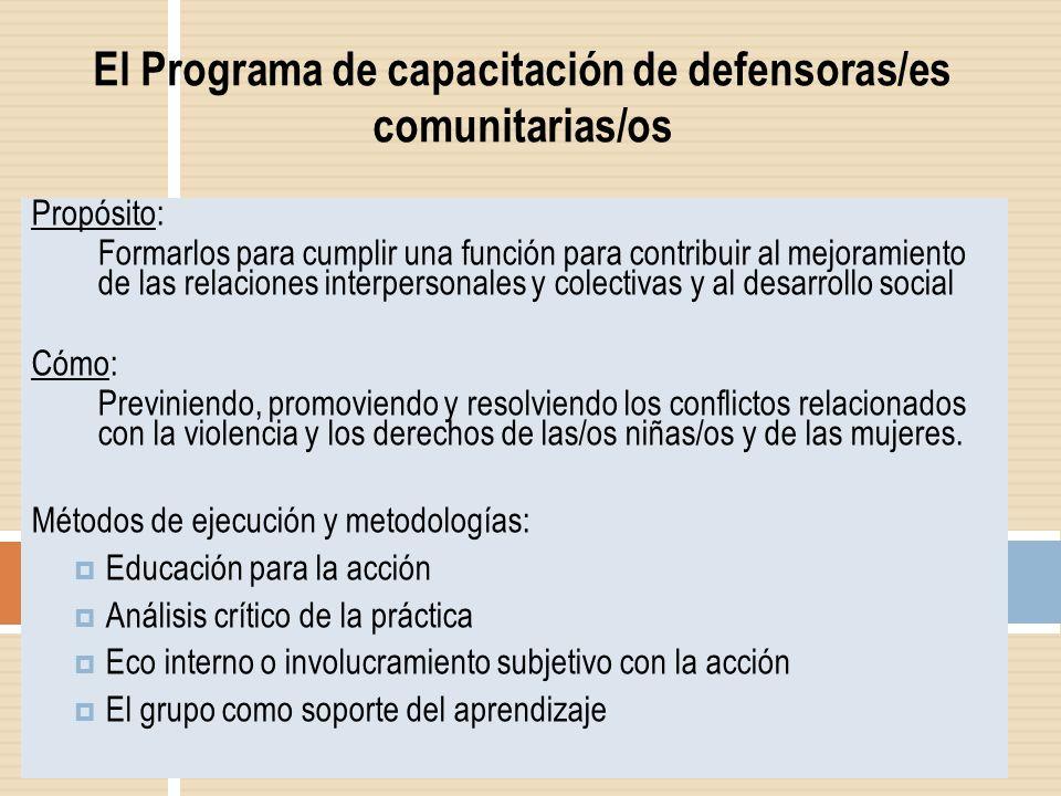 El Programa de capacitación de defensoras/es comunitarias/os Propósito: Formarlos para cumplir una función para contribuir al mejoramiento de las rela