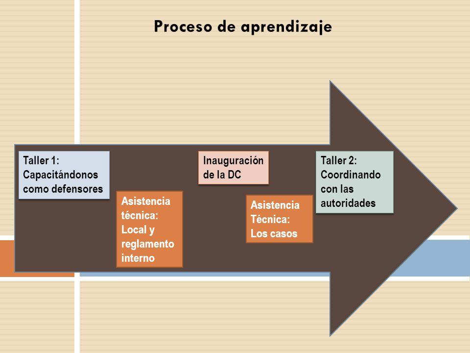 Proceso de aprendizaje Taller 1: Capacitándonos como defensores Inauguración de la DC Asistencia técnica: Local y reglamento interno Taller 2: Coordin