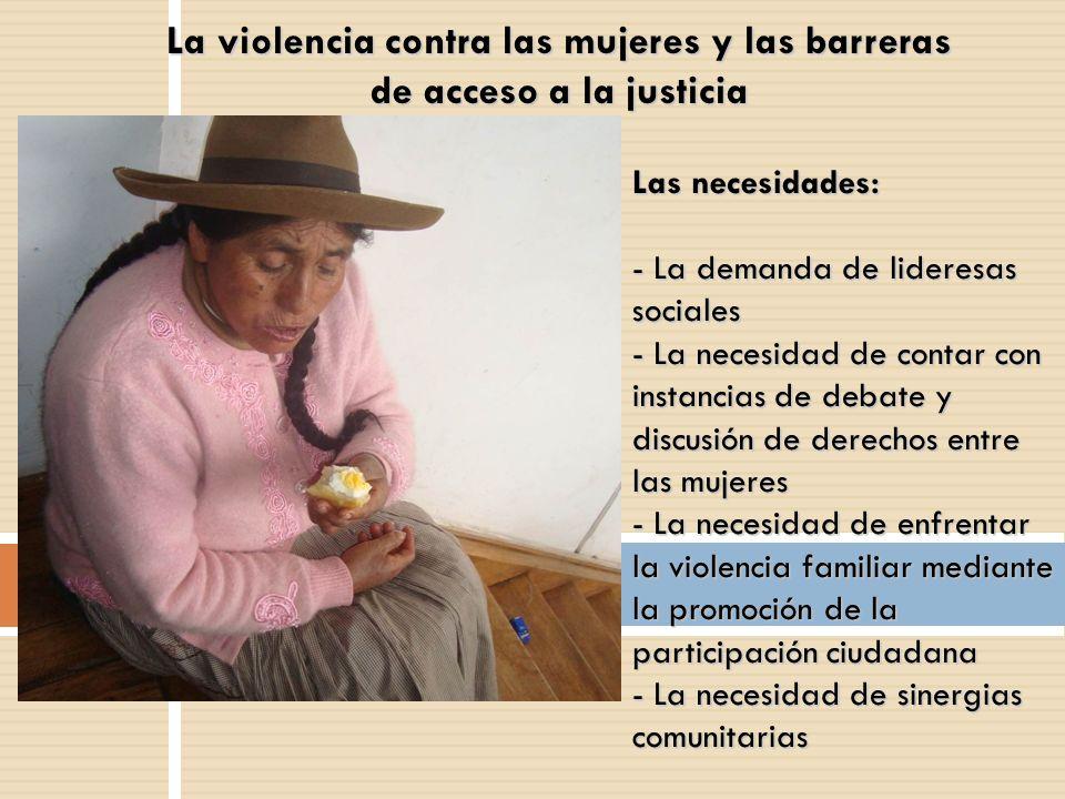 La violencia contra las mujeres y las barreras de acceso a la justicia Las necesidades: - La demanda de lideresas sociales - La necesidad de contar co