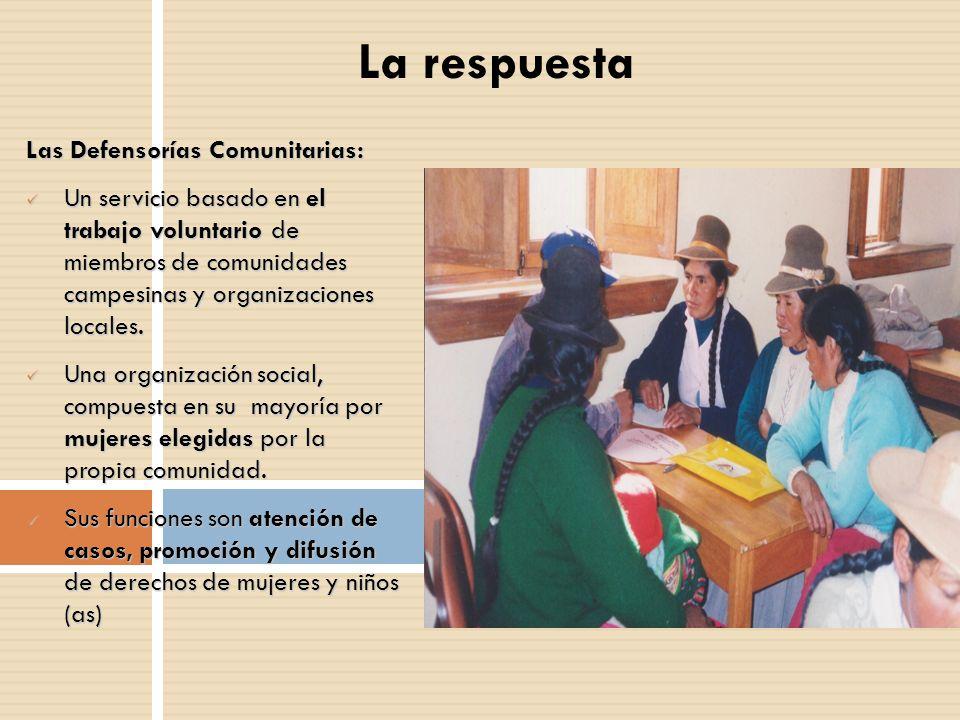 La respuesta Las Defensorías Comunitarias: Un servicio basado en el trabajo voluntario de miembros de comunidades campesinas y organizaciones locales.