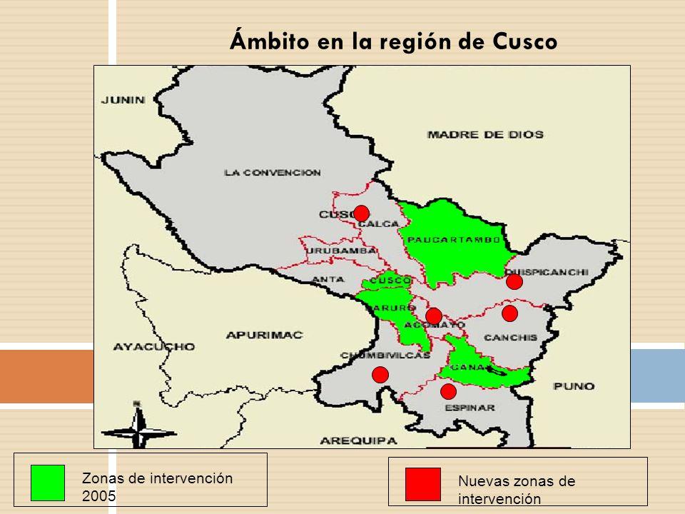 Ámbito en la región de Cusco Zonas de intervención 2005 Nuevas zonas de intervención
