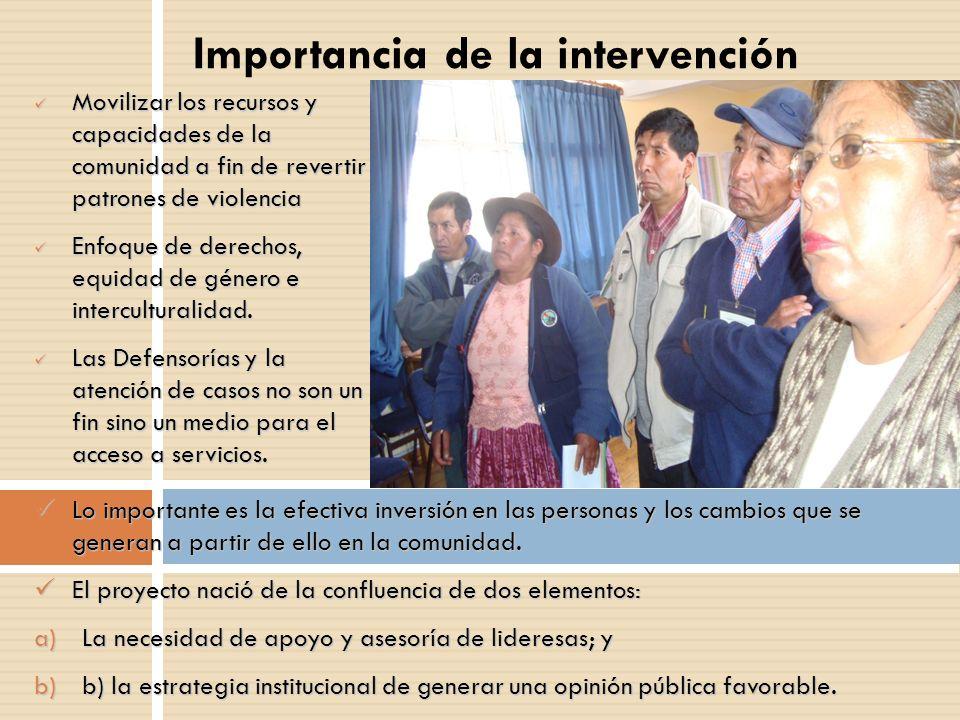 Importancia de la intervención Movilizar los recursos y capacidades de la comunidad a fin de revertir patrones de violencia Movilizar los recursos y c
