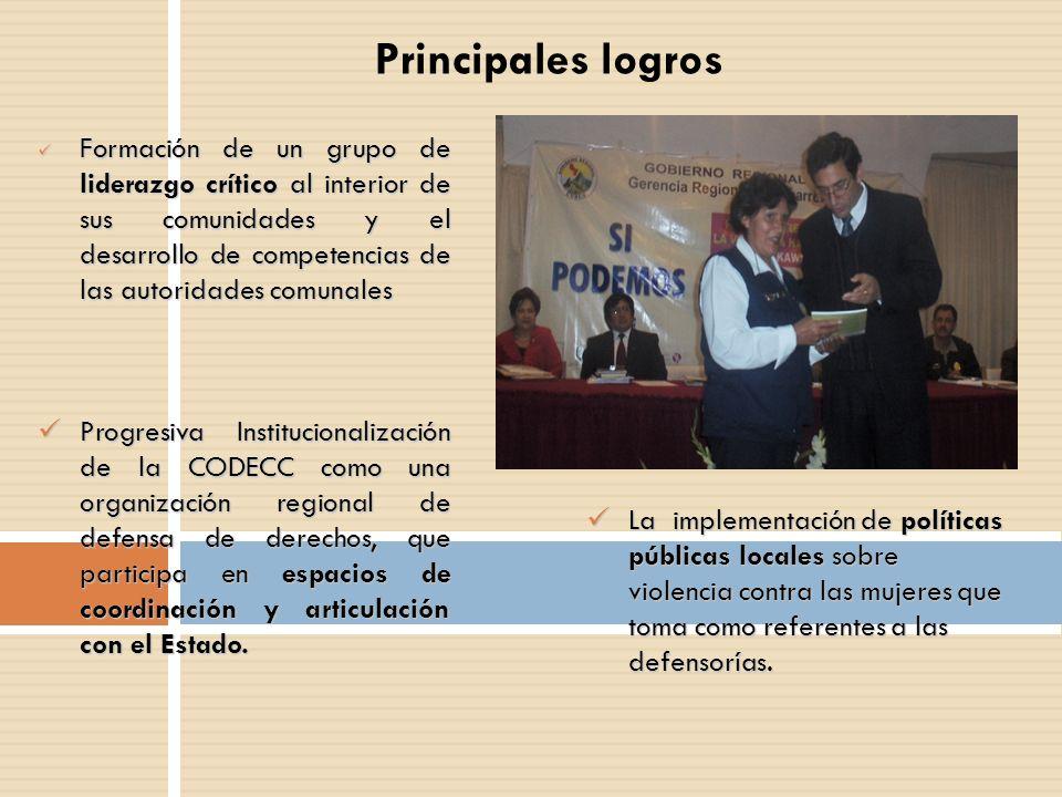 Principales logros Formación de un grupo de liderazgo crítico al interior de sus comunidades y el desarrollo de competencias de las autoridades comuna