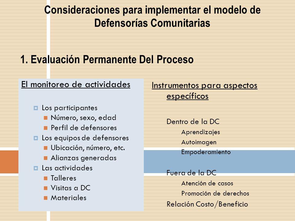 Consideraciones para implementar el modelo de Defensorías Comunitarias El monitoreo de actividades Los participantes Número, sexo, edad Perfil de defe