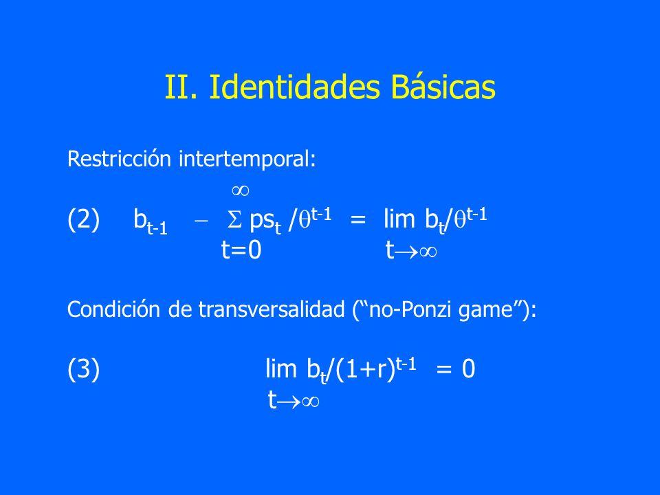 II. Identidades Básicas Restricción intertemporal: (2)b t-1 ps t / t-1 = lim b t / t-1 t=0 t Condición de transversalidad (no-Ponzi game): (3)lim b t