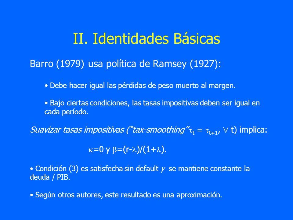 II. Identidades Básicas Barro (1979) usa política de Ramsey (1927): Debe hacer igual las pérdidas de peso muerto al margen. Bajo ciertas condiciones,