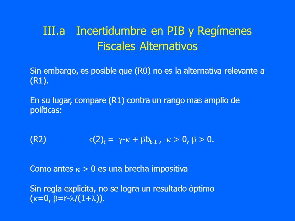 III.a Incertidumbre en PIB y Regímenes Fiscales Alternativos Sin embargo, es posible que (R0) no es la alternativa relevante a (R1). En su lugar, comp